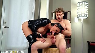Dude fucks a hot brunette in leather dress from behind