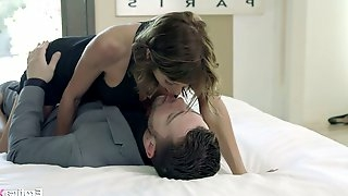 Fake tittied housewife Alexis Fawx gives a blowjob and gets doggy fucked