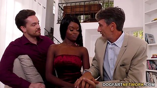 Writer with the addition of son fuck skinny ebony chick Anna Fox in mouth with the addition of pussy
