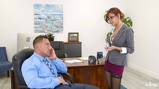 Bossy milf Jade Jantzen flashes her panties and seduces young worker Johnny