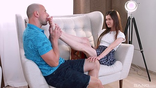 Passionate shafting with shaved pussy brunette Ariana Shaine