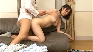 Amazing Japanese chick gets will not hear of tight pussy banged stranger behind