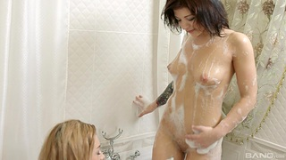 Sonia Sweet and Tori Fox moan not later than amazing FFM threesome at home