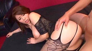 Sexy Japanese pornstar Ayumi Shinoda in underclothes rides two dudes