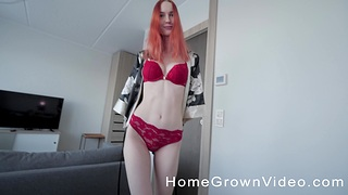 Incredible redhead room-mate gives a BJ and gets fucked give POV