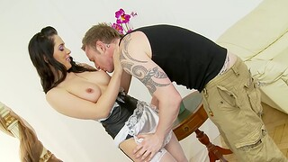 Sweet maid Kaia Kane gives a conscientious blowjob at the riding in cowgirl