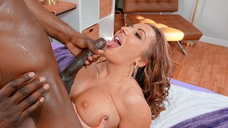 Interracial sex in the bedroom with large boobs cougar Richelle Ryan