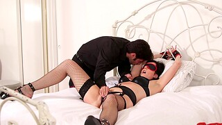 Blindfolded wife Dixie Comet loves being spanked at near wild sex