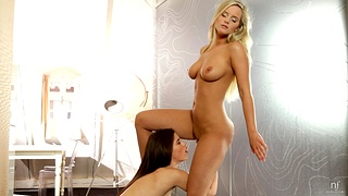 Amazing lesbian pussy eating standing b continuously Caprice and Marry Big wheel