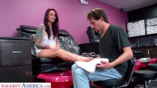 Horny redhead Monique Alexander teases and gets fucked hard