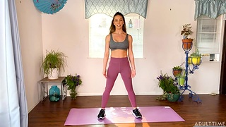 Yoga workout with busty sexy milf Cherie Deville ends with unescorted masturbation