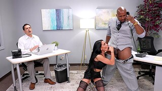 Interracial fucking in the office with Gianna Age-old increased by her boss