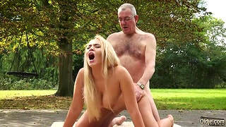 Russian beauty with big fake boobies Briana Bounce is fucked outdoor