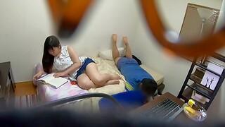 Hidden cam akin to Nishimura Nina having sex in the bedroom