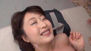 Gangbang here Arisa Misato getting a facial after sucking dicks