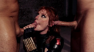 Redhead slut Lacy Lennon gets rough fucked by two horny studs