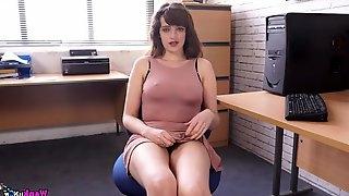 Nipples poke through the tight dress of a secretary