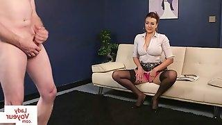 Busty british voyeur instructing sub to jerk